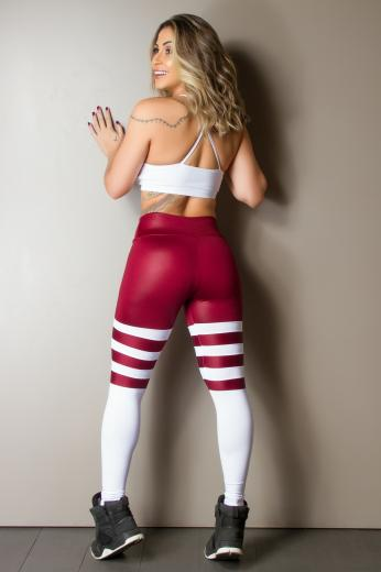 Calça Legging Shine Socks Wine