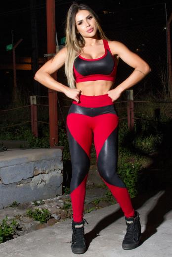 Conjunto Fitness Calça e Top Power Red