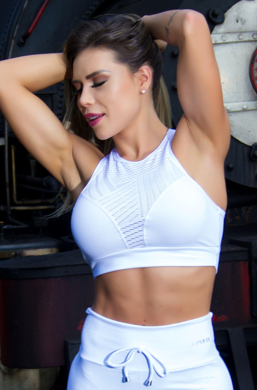 b224ea1dd Top Fitness com Detalhes em Renda Branco