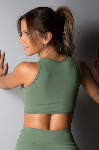 Cropped Fitness Tie Green Military