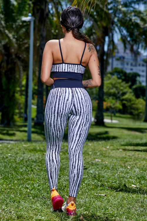 Calça Legging Jacquard White Black